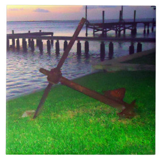 Anchor at Sunset Large Square Tile