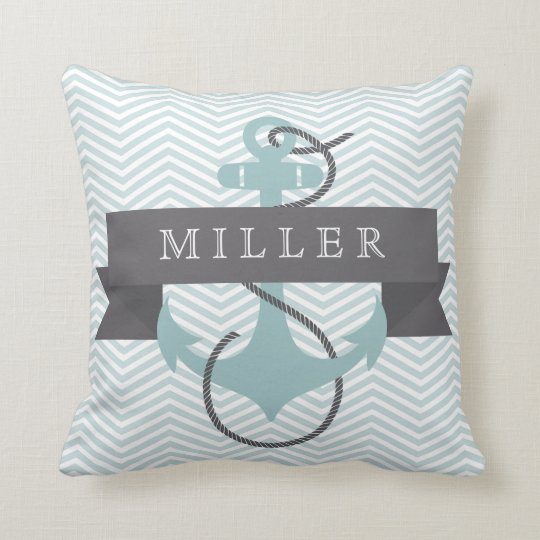 Anchor & Banner Personalised Throw Pillow