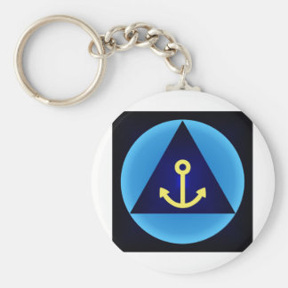 anchor basic round button key ring