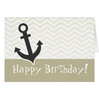 Anchor; Beige Chevron; zig zag Greeting Card