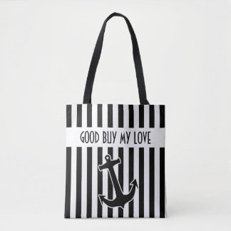Anchor black with white contour + your ideas tote bag