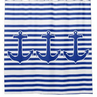 Anchor blue / Contour white + your ideas Shower Curtain