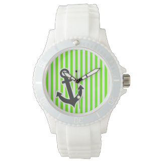 Anchor; Bright Green Stripes; Striped Watch