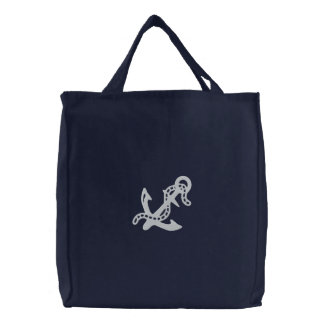 Anchor & Chain D2 Nautical Pirate Navy Coast Guard Embroidered Tote Bag