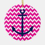 Anchor Chevron Nautical Pink and Navy