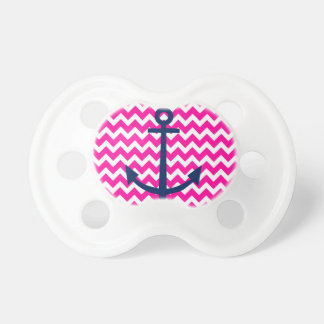 Anchor Chevron Nautical Pink and Navy Baby Pacifiers