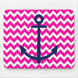 Anchor Chevron Nautical Pink and Navy Mouse Mat
