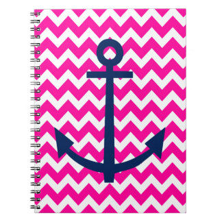 Anchor Chevron Nautical Pink and Navy Notebooks