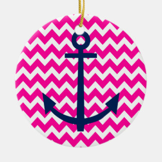 Anchor Chevron Nautical Pink and Navy Round Ceramic Decoration