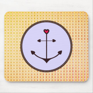 Anchor_Heart_Grape__Peachy-Checks_ Mouse Pad