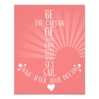 Anchor inspirational quote art nautical home decor photo print