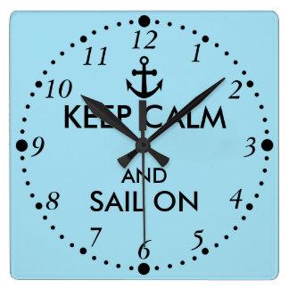 Anchor Keep Calm and Sail On Nautical Custom Square Wall Clock