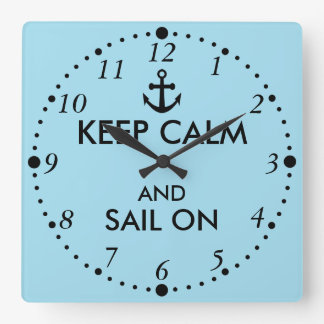 Anchor Keep Calm and Sail On Nautical Custom Wallclocks