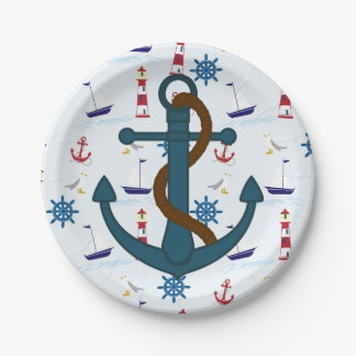 Anchor lighthouse print paper plates