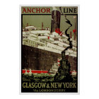 Anchor Line ~ Glasgow-New York Poster
