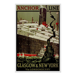 Anchor Line Glasgow-New York Posters