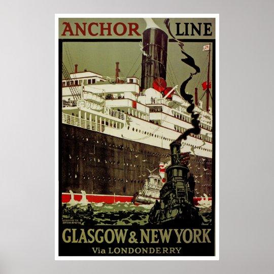 Anchor Line ~ Glasgow-New York Poster