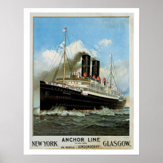Anchor Line ~ New York - Glasgow Poster