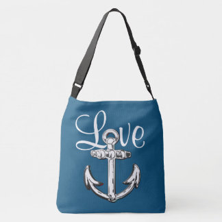 Anchor Love  nautical beach cottage shoulder bag