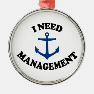 Anchor Management Silver-Colored Round Decoration