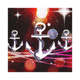 Anchor Me to the Stars Nautical Abstract Design Stretched Canvas Print