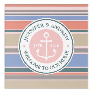 Anchor Monogram Trendy Stripes Pink Nautical Beach Acrylic Wall Art
