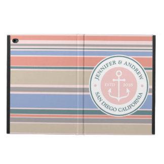 Anchor Monogram Trendy Stripes Pink Nautical Beach Powis iPad Air 2 Case