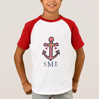Anchor Monogram with Red Stripes & Bunting Banner T-Shirt