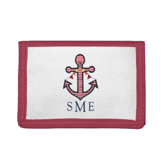 Anchor Monogram with Red Stripes & Bunting Banner Tri-fold Wallets