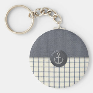 Anchor Nautical Basic Round Button Key Ring