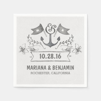 anchor nautical beach wedding paper napkins disposable serviette