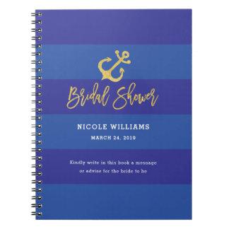 Anchor Nautical Bridal Shower Guestbook Notebook