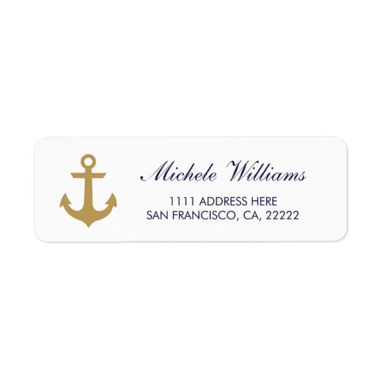 Anchor Nautical Clean White Return Address Labels