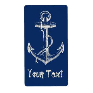 Anchor Nautical Custom Label Gift Navy Blue White