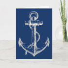 Anchor Nautical Greeting Card Gift Navy Blue White
