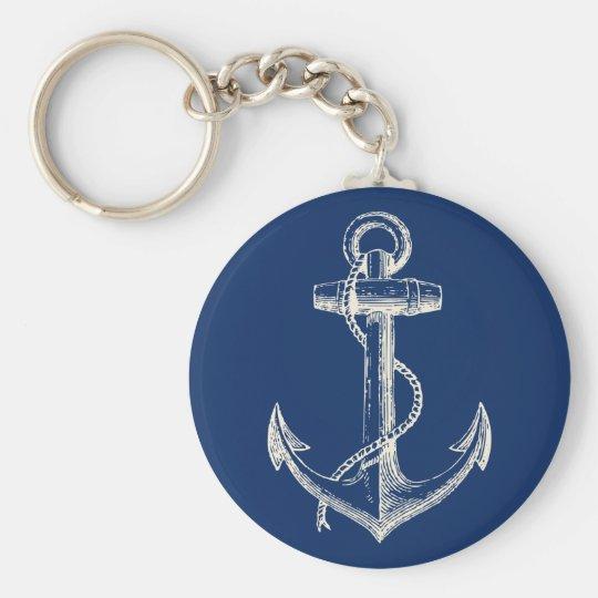 Anchor Nautical Keychain Gift Navy Blue White