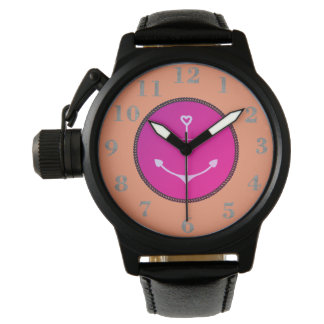 Anchor-Nautical_Mod_Peach-Fushia_Silver-Numbers Watch
