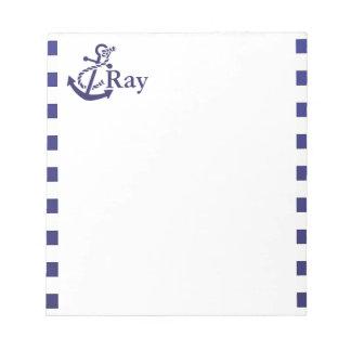 Anchor Nautical Monogram Name Notepad