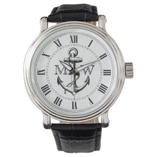 Anchor, Nautical Monogram Watch
