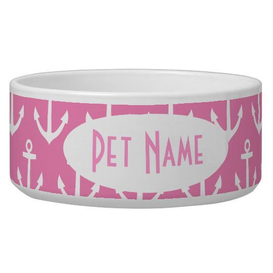 Anchor Nautical Pink Personalised Pet Bowl