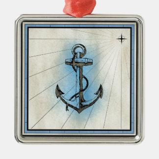 Anchor Nautical Sea Silver-Colored Square Decoration