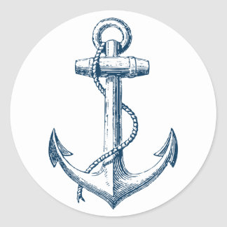 Anchor Nautical Sticker Decor Gift Navy Blue White