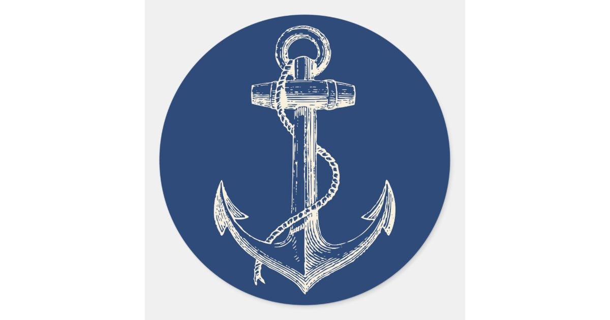 Art Décor: Anchor Nautical Sticker Decor Navy Blue White