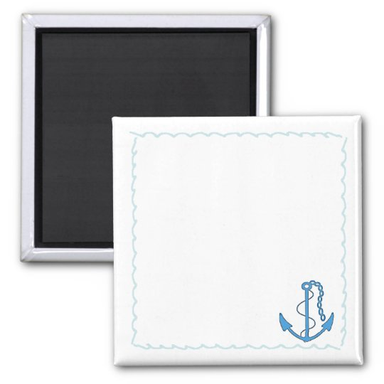 Anchor-Nautical Waves-Personalise It! Square Magnet