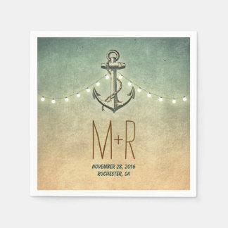 anchor nautical wedding disposable napkins