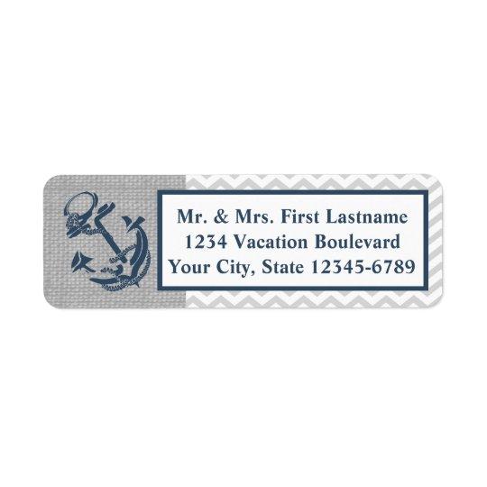 Anchor Navy Blue and Grey Zig Zag Return Address Label