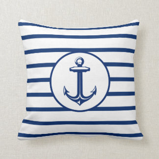 Anchor Navy Blue White Striped Background Cushion