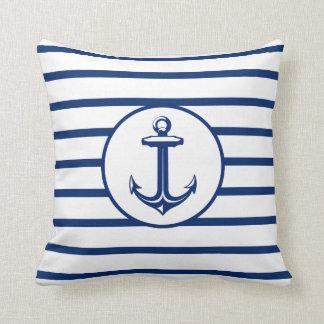 Anchor Navy Blue White Striped Background Cushion
