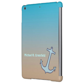 Anchor on Aqua and Tan Personalized