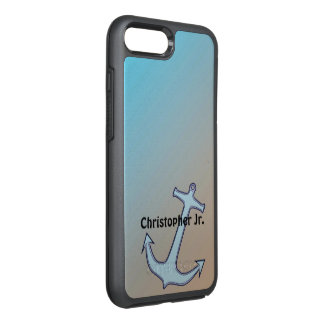 Anchor on Aqua and Tan Personalized OtterBox Symmetry iPhone 8 Plus/7 Plus Case